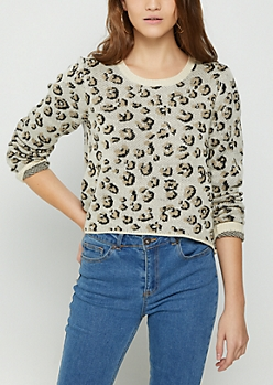 Leopard Distressed Crop Sweater