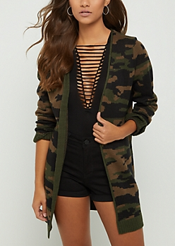 Dark Green Camo Knit Cardigan