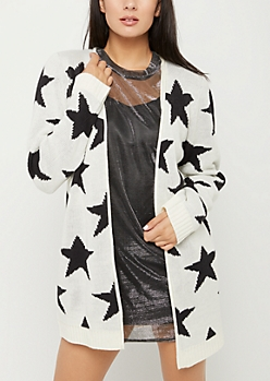 Tossed Star Knit Cardigan