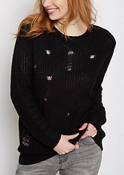 Black Destroyed Chunky Knit Sweater