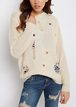 Ivory Destroyed Chunky Knit Sweater
