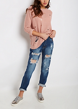 Pink Destroyed Chunky Knit Sweater