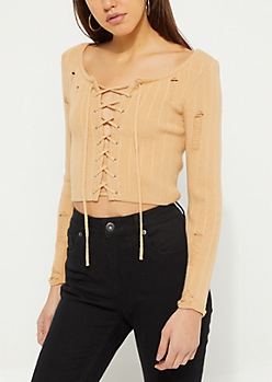 Tan Ribbed Lace Up Crop Sweater