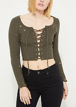 Olive Ribbed Lace Up Crop Sweater