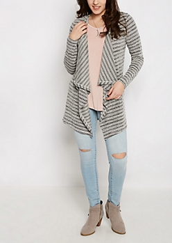 Charcoal Striped Cascading Cardigan