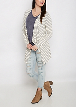 Ivory Striped Cascading Cardigan