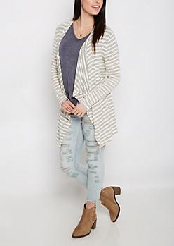 Ivory Striped Cascading Cardigan
