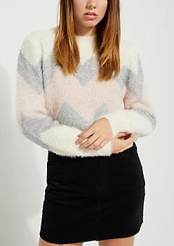 Ivory Fuzzy Metallic Chevron Sweater