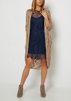 Tan Pointelle Cocoon Cardigan Duster