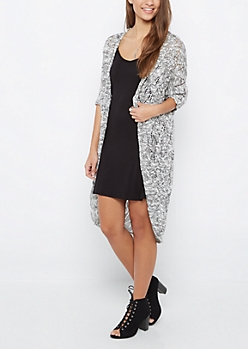Black Marled Pointelle Cocoon Cardigan Duster