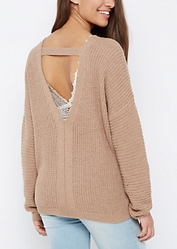 Taupe Open Back Sweater