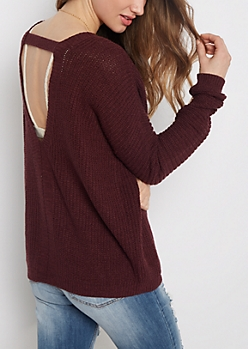 Plum Open Back Sweater