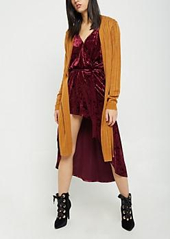 Tan Wide Rib Knit Cardigan