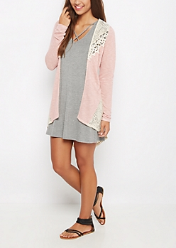 Pink Marled Crochet Inset Cardigan