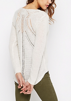 Cream Pointelle Knit Sweater