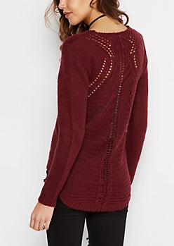Burgundy Pointelle Knit Sweater