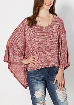 Burgundy Space-Dyed Cold Shoulder Poncho