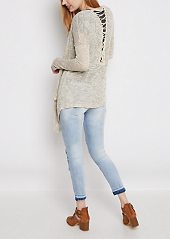 Gray Marled Lattice Cascading Cardigan