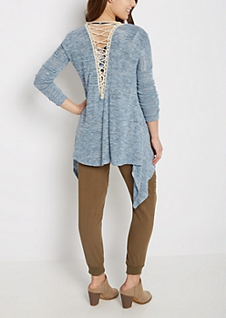 Blue Marled Lattice Cascading Cardigan