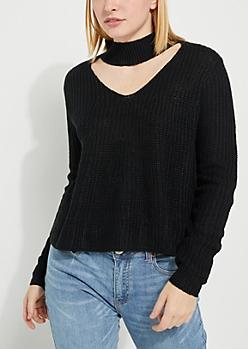 Black Cutout V Sweater