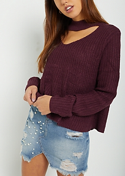 Purple Cutout V Sweater