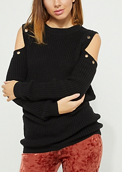 Black Grommet Cold Shoulder Sweater
