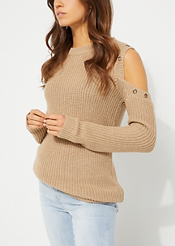Taupe Grommet Cold Shoulder Sweater