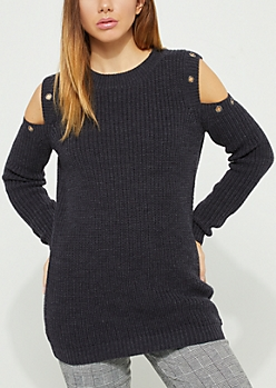 Navy Grommet Cold Shoulder Sweater