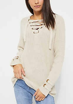 Cream Lace Up Grommet Sweater