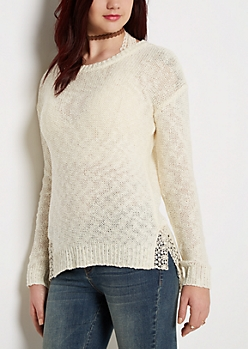 Ivory Crochet Vent Sweater