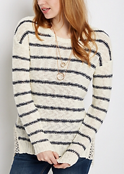 Striped Crochet Vent Sweater