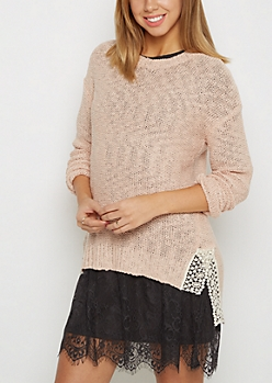 Pink Crochet Vent Sweater