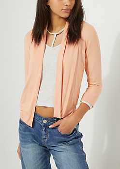 Peach Banded Open Front Cardigan