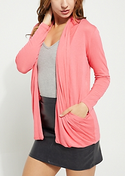 Pink Draped Pocket Cardigan
