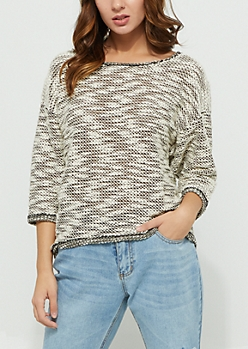 Heather Gray Slub Oversized Sweater