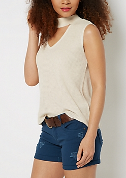 Ivory Pointelle Keyhole Tank Top
