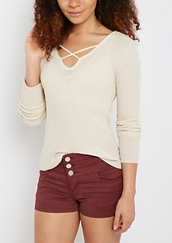 Ivory Waffle Knit Lattice Top