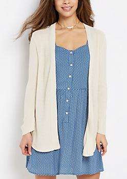Ivory Waffle Knit Shirttail Cardigan