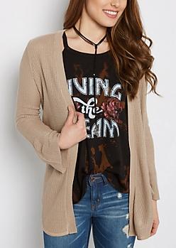 Tan Waffle Knit Shirttail Cardigan