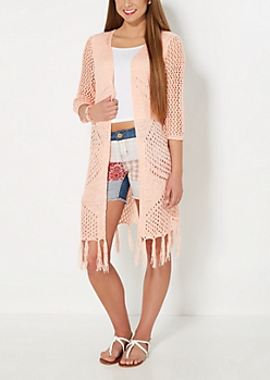 Pointelle Knit Fringed Duster