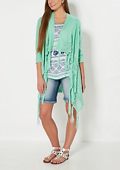 Mint Cascading Fringed Cardigan