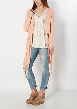 Pink Cascading Fringed Cardigan