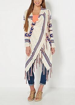 Ivory Tribal Wrapped Fringe Sweater