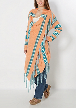 Coral Tribal Wrapped Fringe Sweater