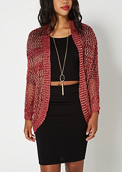 Burgundy Metallic Open-Knit Cocoon Wrap