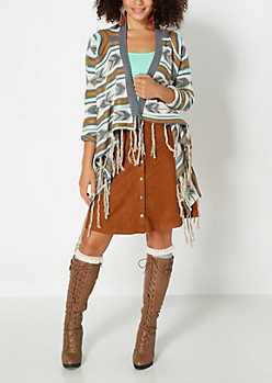 Gray Tribal Fringed Cascading Wrap