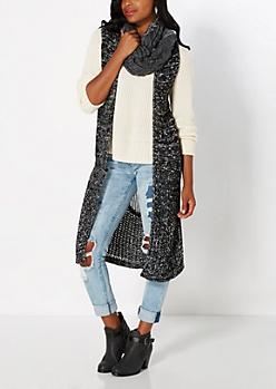 Black Marled Split Hem Vest