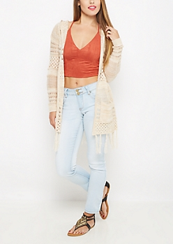Open Knit Fringed Cardigan By Sadie Robertson x Wild Blue™