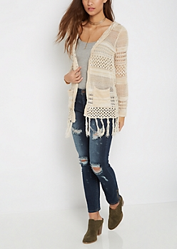 Ivory Pointelle Cardigan By Sadie Robertson X Wild Blue