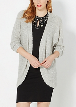 Gray Sequined Cocoon Cardigan